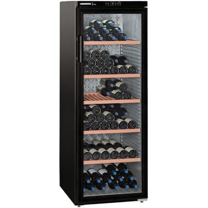 Weinkühlschrank schwarz, 6 Lagen Holz