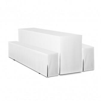 Biertischgarniturhussen 200x50 weiß 3 teilig exl. Sitzauflagen